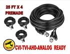 25 FT x 4 Premade CCTV Cable RG59 For Security Camera BNC Power Video Wire Black