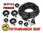 25 FT x 8 Premade CCTV Cable RG59 For Security Camera BNC Power Video Wire Black