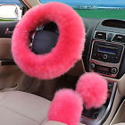 3Pcs Plush Warm Pink Steering Wheel Cover Wool Handbrake Car Accessory