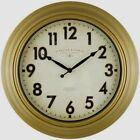 Mainstays Sterling & Noble 15.5  Diameter Round Rustic Gold Wall Clock New w/Box