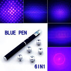 6in1 Effect Blue/Violet Laser Pointer Pen 5mw Beam+5Pc Star Caps