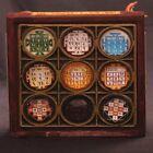 Nav Graha Chowki Yantra - Energized 3D Crystal Navagraha Yantra - Wooden Chowki