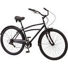 """29"""" Men's Cruiser Bike Black 7 Speed 19"""" Steel Frame Fenders Bicycle Cycling New"""