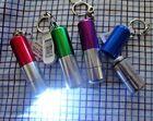 Set of 4 Aluminum Pill Case Tube Key Chain Fob w  Led Flashlight  NEW