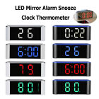 USB LED Digital Alarm Clock Snooze Night Light Thermometer Display Mirror Lamp