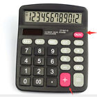 Portable Office 12-Digits Calculator Dual Power Supply Solar & Battery