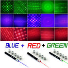 6in1 Green+Red+Blue/Violet Laser Pointer Pen Visible Beam Light & Star Caps USA