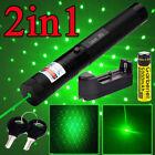 10Miles 532nm 1mW G303 Laser Pointer Green Lazer Pen Beam Light + 18650 &Charger