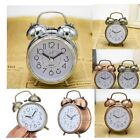 Retro Double Bell Alarm Clock Metal Bedside Wake Up Hammer Bells Alarm Clock