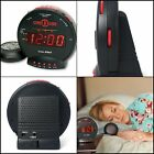Dual Alarm Clock with Bed Shaker Sonic Bomb Sound and Large LCD Display Black