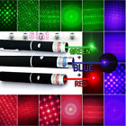 USA 6in1 Green+Blue+Red /Violet Laser Pointer Pen Visible Beam Light & Star Caps