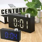Rectangle Wooden Curve Digital LED Alarm Clock USB Operated with Rotate Button S