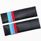 2pcs Car Carbon Fiber 3D Embroidery Seat Belt Safety Shoulder Pad Cover For BMW