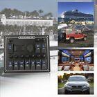 10 Gang Waterproof Car Auto Boat Marine LED AC/DC Rocker Switch Panel Dual 15A N