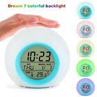 US 7 LED Color Change White Digital Alarm Clock Kids Bedroom Home Gift For Child