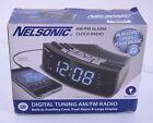 NS Blue LED Alarm Clock Radio with Digital Tuner Large display AUX  Plug  A2941V
