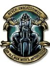 """4 inch decal Never Underestimate an Old Man with a Motorcycle 4"""" Decal"""