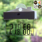 Clear Glass LCD Digital Window Thermometer Hydrometer Indoor Outdoor Kitchen New