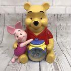 "Disney Winnie The Pooh Piglet Clock Coin Bank Musical 12"""