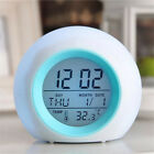 Kids Wake Up Alarm Clock 7-Color Backlight Time Calendar Thermometer Temperature