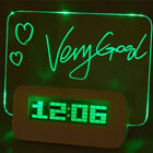 LED Fluorescent Message Board Clock Alarm Temperature Timer USB Hub Light