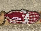 "VINTAGE 4"" OLD NAVY MINI FIGURAL RED GINGHAM BOAT SHOE KEY RING"
