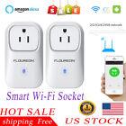 2 Pcs US Plug Smart WiFi Socket Plug Outlet Switch Power Timer APP&Voice Control
