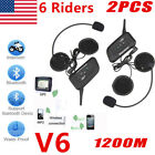 2x 1200M BT Motorcycle Helmet Bluetooth Headset Motorbike Intercom 6 Riders US