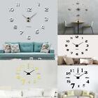 Frameless Modern DIY Large 3D Number Wall Sticker Home Decoration Art Clock NEW