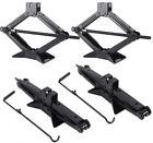 4 PCs 5000lb RV Camper Scissor Leveling Jacks Trailer Stabilizer W/Handle TO