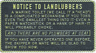 "Boat Marine Notice To Landlubbers Plaque 3"" W X 5-1/2"" H With Adhesive Backing"