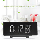 LED Curved-Screen Projection Time Alarm Clock Charging Radio Dual Alarm Clock
