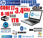 STEEL HP BUSINESS LAPTOP CORE i7 3.4GHz TB MAX w/8G-16GB✓1TB SSHD✓CAM✓BLUETOOTH