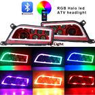 New 2pc Red ATV LED Headlights RGB Halo Ring For Polaris RZR 1000 XP RZR 900 & S