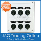 6 GANG WHITE WATERPROOF TOGGLE SWITCH PANEL with 15A Fuses - Boat/Marine/Caravan