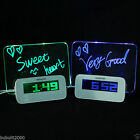 Digital Backlight LED Display Table Snooze Alarm Clock Message Writing Board LCD