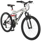 "New 24"" Mongoose Ledge 2.1 Boy's Mountain Bike Aluminum Suspension Frame, Silver"