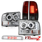 99-04 F250 Lariat Halo Headlight Rear Tail Lights Smokey Red Roof Stop LED Clear