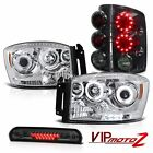 2006 Dodge Ram 3500 CCFL Halo DRL Headlights Smoke LED Taillight High Stop Cargo