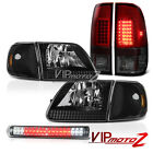 Pair Black Headlights Corner LED Tail Lights Third Brake Cargo 1997-2003 F150 XL