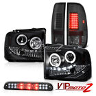 05 06 07 Ford F350 C.C.F.L Angel Eye Headlights Smoke LED Taillights High Stop