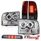 1999-2004 F350 [BRIGHTEST] CCFL Rim Headlight Smokey Red TailLight 3rd Brake LED