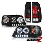 F150 1999 2000 2001 Devil's Eye CCFL Halo Headlight Black Brake LED Tail Lights