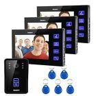 "Wired 7"" LCD Video Door Phone Intercom System with 1 Night IR Camera 3 Monitors"