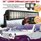 "24inch Curved Led Light Bar Flood Spot + 2x 4"" CREE Pods Work Offroad SUV 4WD 20"