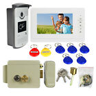 "7""TFT Video Door Phone Intercom Entry System Camera+Electric Lock Automatic Hot"