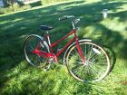 "red ladies bicycle single speed sheffield  free spirit 26"" wheels very well made"