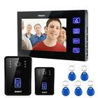 "7"" Monitor Wired Touch Key Video Door Phone Doorbell Intercom System 2 IR Camera"
