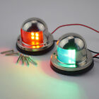 A Pair 12V Stainless Steel LED Bow Navigation Lights Red & Green Brightly