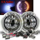"WHITE AMBER DRL FOR EURO CAR! 7"" H6014 H6024 PROJECTOR HEADLIGHTS+ HID 10000K"